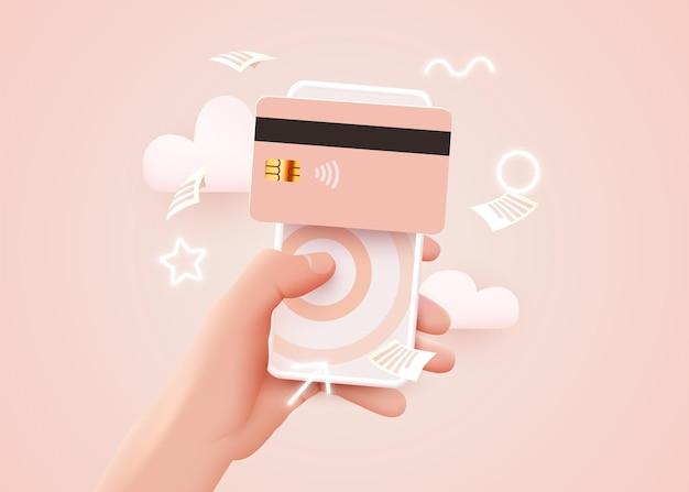 Aplicación de banca móvil y pago electrónico. mano con teléfono inteligente y pagar con tarjeta de crédito a través de billetera electrónica