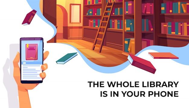 Aplicación de biblioteca en línea para leer pancartas