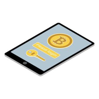 Aplicación de la billetera bitcoin en tablet pc