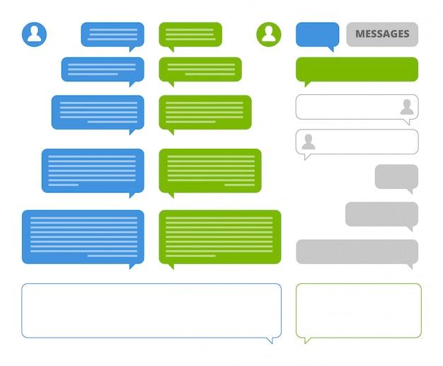 Aplicación de burbujas. marcos de burbujas de discurso del cliente de chat para la mensajería social de mensajería móvil o sms que envían cuadros de chat en blanco