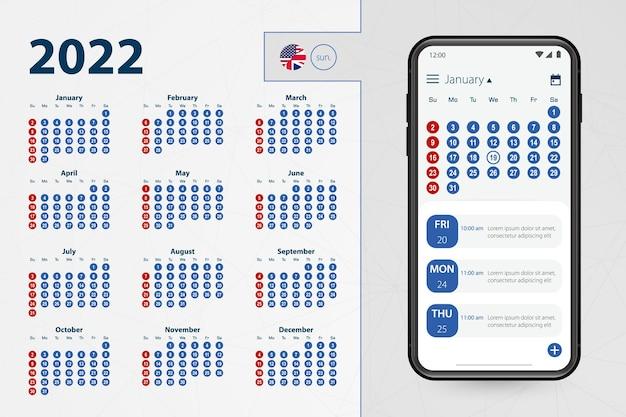 Aplicación de calendario para smartphone. vector calendario 2022 semana comienza en domingo, idioma inglés.