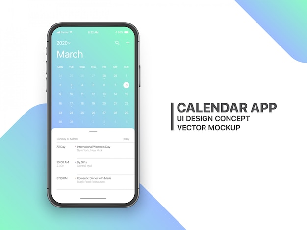 Aplicación de calendario ui ux concept página de marzo