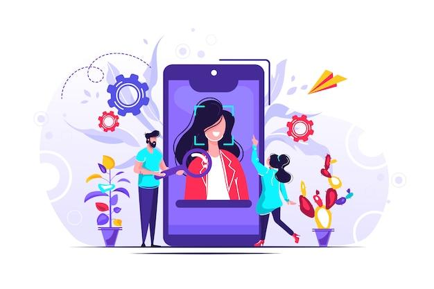 Aplicación cara ilustración