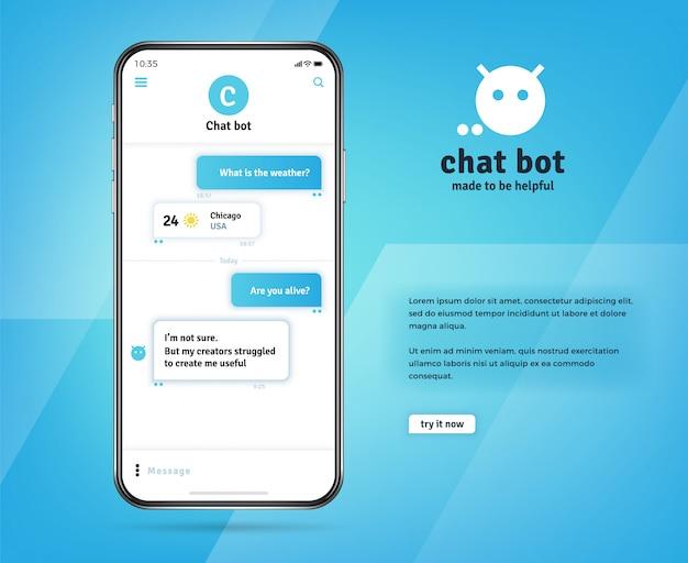 Aplicación de chatbot en línea con mensajes en la pantalla realista del teléfono inteligente
