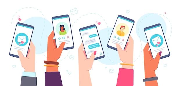 Aplicación de citas móvil. manos sosteniendo teléfonos con aplicación de fechas en línea, chats, perfiles de partidos y correos. concepto de vector de relación virtual. personas que buscan pareja, enviando mensajes de amor.