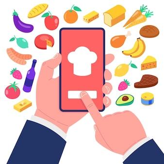 Aplicación de cocina en la pantalla del teléfono inteligente. conjunto de iconos de comida.