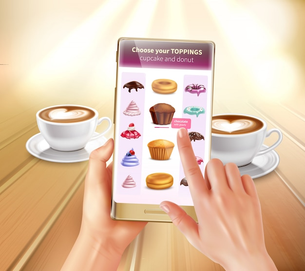 Aplicación de cocina de realidad aumentada y virtual para teléfonos inteligentes que reconoce productos que sugieren recetas que eligen coberturas composición realista