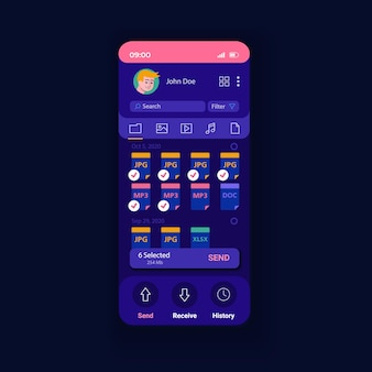 Aplicación para compartir plantilla de vector de interfaz de teléfono inteligente de noche de datos. diseño de página de aplicaciones móviles. compartir la pantalla de la aplicación de información. descarga archivos de cualquier tamaño. interfaz de usuario plana para la aplicación. pantalla del teléfono