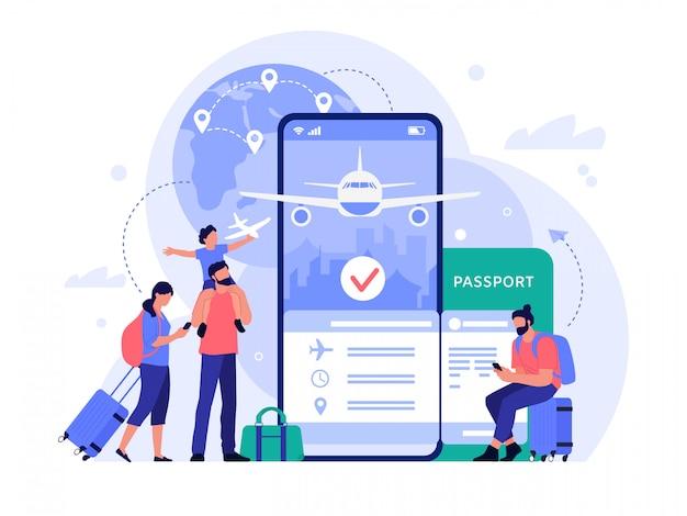 Aplicación de compra de boletos de viaje aéreo. personas que compran boletos en línea, servicio de reserva telefónica para turismo y vacaciones, ilustración del concepto de viaje. herramienta de búsqueda de vuelos. turistas haciendo reserva