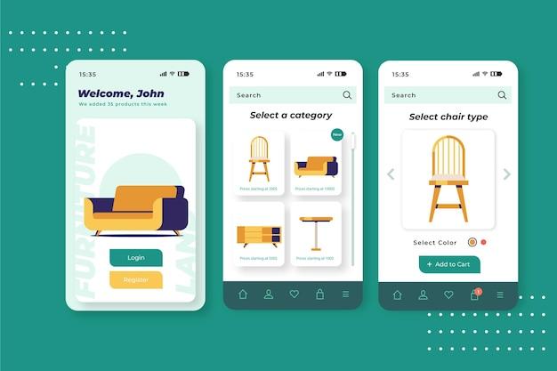 Aplicación de compra de muebles