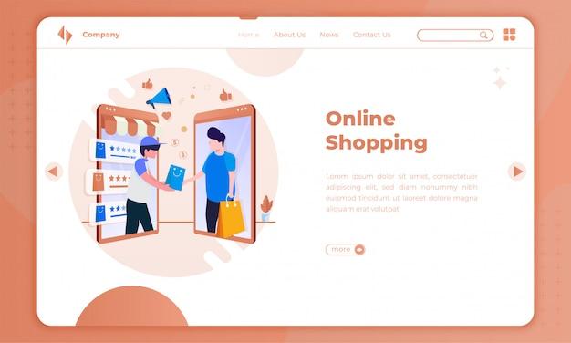 Aplicación de compras en línea de ilustración plana en la página de destino