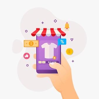 Aplicación de compras en línea teléfono móvil