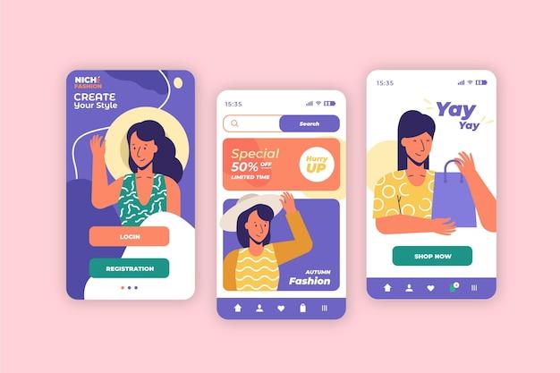 Aplicación de compras de moda vector gratuito