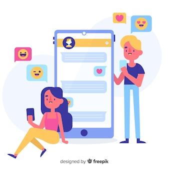 Aplicación para el concepto de citas ilustrada