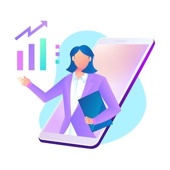Aplicación de consulta empresarial online con smartphone