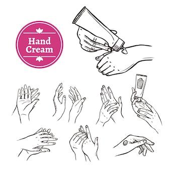 Aplicación de crema de manos iconos negros establecidos