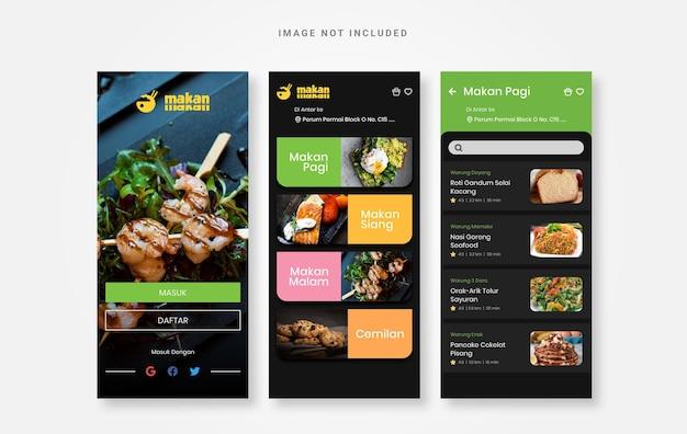 Aplicación culinaria de comida de diseño de interfaz de usuario
