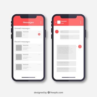 Aplicación de mensajería para chatear en estilo plano
