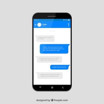 Aplicación de mensajería para móvil en estilo plano