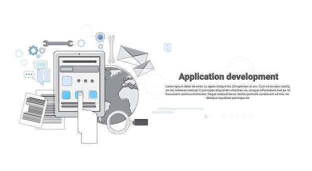 Aplicación desarrollo creativo proceso negocio concepto banner delgada línea vector illustration