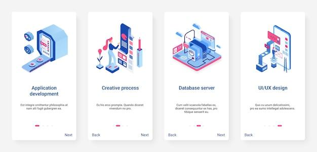 Aplicación de desarrollo creativo ux ui onboarding mobile app