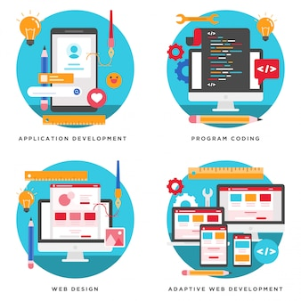 Aplicación, desarrollo de sitio web, diseño de codificación de programa