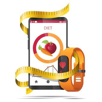 Aplicación de dieta conceptual con cinta métrica, teléfono inteligente y reloj de fitness realista