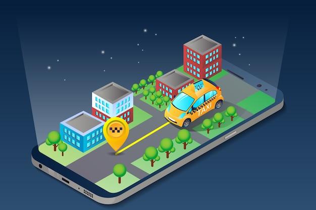 Aplicación de dispositivo de ciudad isométrica de taxi móvil en línea