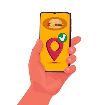 Aplicación de entrega de alimentos en el teléfono móvil. pedido de restaurante en línea. mano que sostiene el teléfono inteligente para llevar el almuerzo en casa. servicio de mensajería rápida