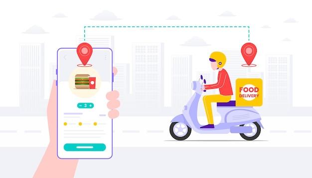 Aplicación de entrega de comida rápida y ilustración plana de repartidor