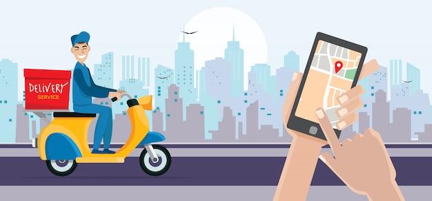 Aplicación de entrega rápida en un teléfono inteligente, tecnología y concepto de logística