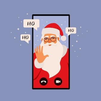 Aplicación de felicitación en línea, ilustración del concepto de navidad. smartphone con santa claus está llamando. ilustración de estilo plano.