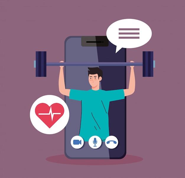 Aplicación de fitness, entrenamiento y entrenamiento, hombre practicando deporte en teléfonos inteligentes, deporte en línea
