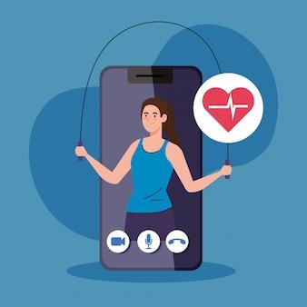 Aplicación de fitness, entrenamiento y entrenamiento, mujer practicando deporte en teléfonos inteligentes, deporte en línea