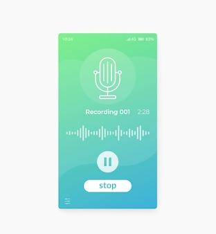 Aplicación de grabación de audio diseño de interfaz de usuario móvil