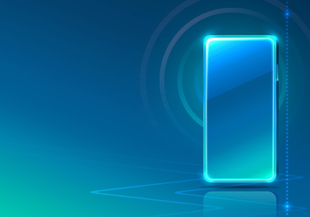 Aplicación de icono de neón de teléfono de pantalla moderna. fondo azul.