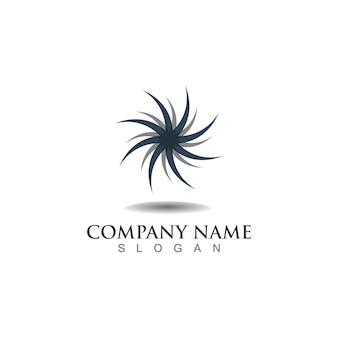 Aplicación de iconos de plantilla de logotipo y símbolos de círculo de vórtice