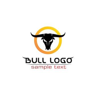 Aplicación de iconos de plantilla de logotipo y símbolos de cuerno de toro