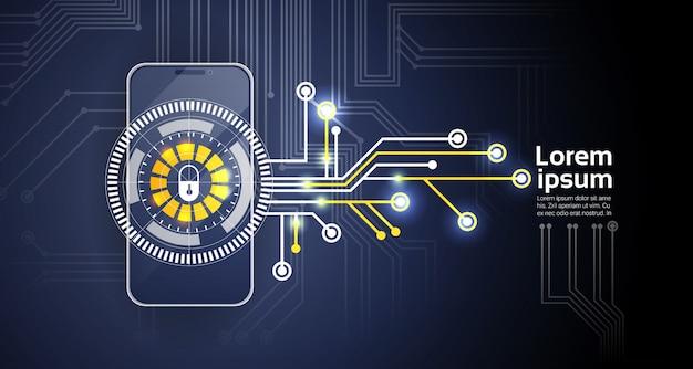 Aplicación de identificación y protección de la aplicación de seguridad móvil del concepto de bloqueo del teléfono pantalla de smartphone