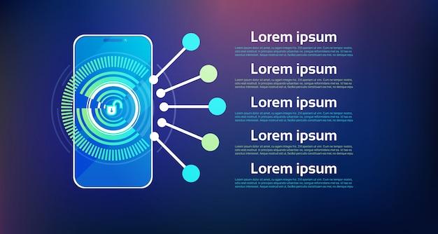Aplicación de identificación y protección del concepto de seguridad bloqueada del teléfono inteligente tecnología de acceso al teléfono