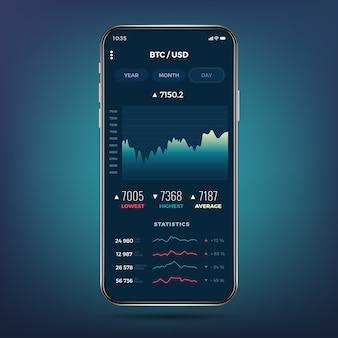 Aplicación de intercambio comercial en la pantalla del teléfono. banca móvil de la criptomoneda ui.