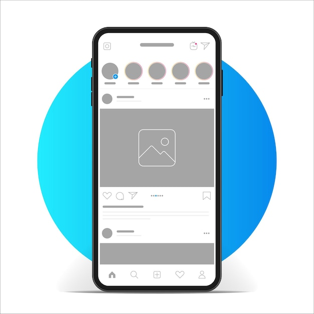 Aplicación de interfaz de instagram. aplicación de redes sociales en la pantalla del teléfono inteligente.