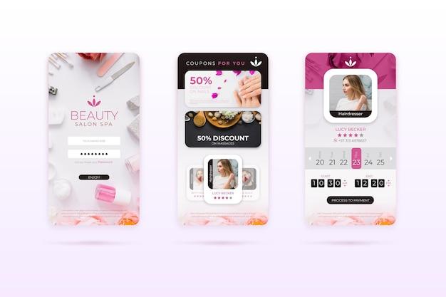 Aplicación de interfaz de reserva de salón de belleza