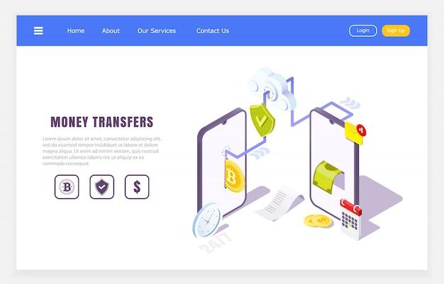 Aplicación en línea de transferencias móviles, concepto isométrico de transacciones financieras, ilustración