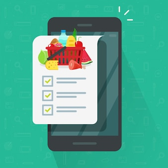Aplicación de lista de compras en el teléfono celular o teléfono inteligente móvil ilustración caricatura