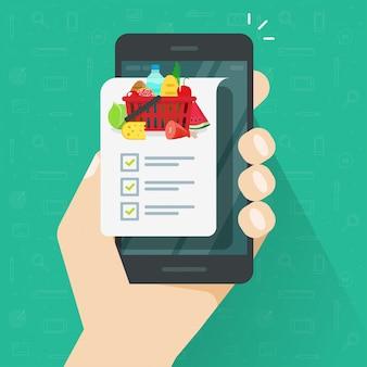 Aplicación de lista de verificación de compras de comestibles en dibujos animados de ilustración de teléfono móvil de teléfono móvil