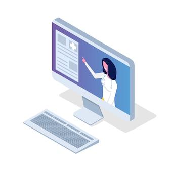 Aplicación médica, concepto isométrico de tecnología de salud. ilustración vectorial