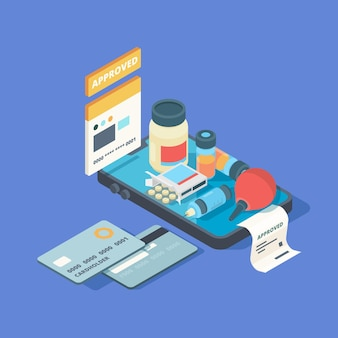 Aplicación médica. pantalla de teléfono inteligente con pedido en línea píldoras médicas medicamentos conexión clínica med concepto isométrico en línea.
