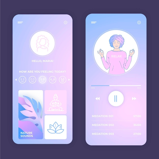 Aplicación de meditación en colores pastel