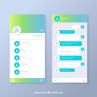 Aplicación de mensajería para móviles en estilo degradado